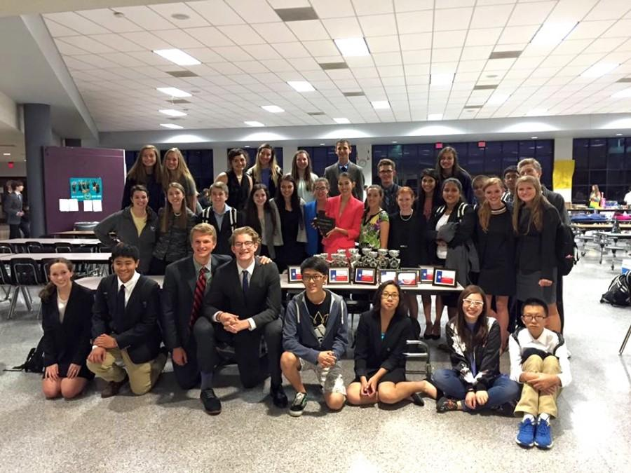 The NCS Debate Team with all of their trophies after the tournament.