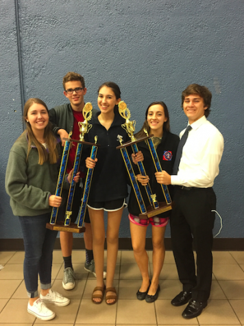 Jackson (far right) and fellow seniors on the debate team holding their sweepstakes trophies.