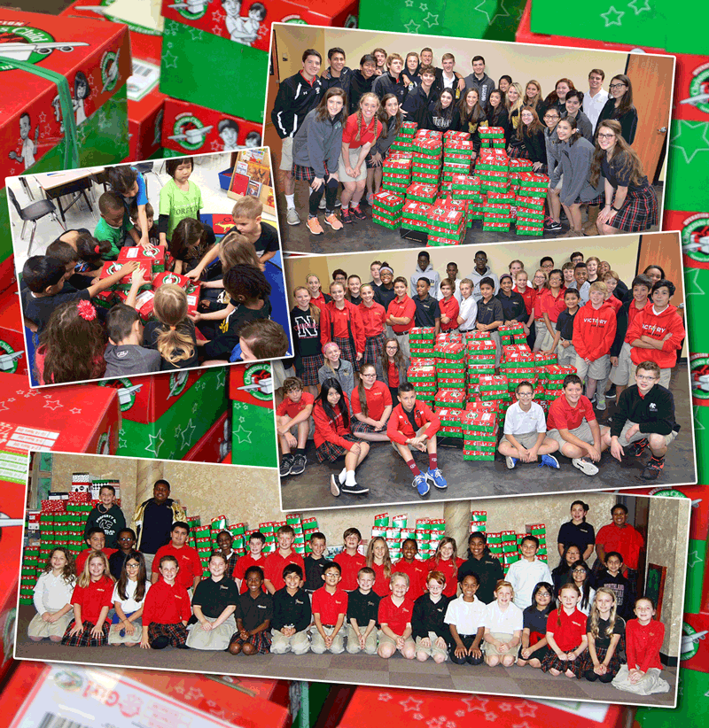 The+seniors%2C+seventh+graders%2C+and+fourth+graders+posing+with+all+of+the+boxes+collected.