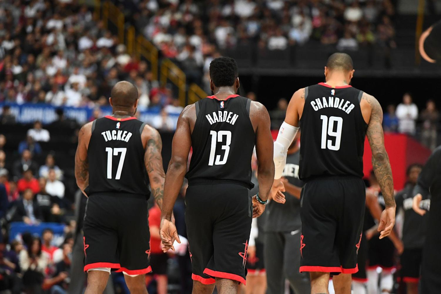 SAITAMA%2C+JAPAN+-+OCTOBER+10%3A+P.J.+Tucker+%2317%2C+James+Harden+%2313+of+the+Houston+Rockets%2C+and+Tyson+Chandler+%2319+of+the+Houston+Rockets+are+seen+on+court+together+against+the+Toronto+Raptors+during+the+2019+NBA+Japan+Game+on+October+10%2C+2019+at+Saitama+Super+Arena+in+Saitama%2C+Japan.+NOTE+TO+USER%3A+User+expressly+acknowledges+and+agrees+that%2C+by+downloading+and%2For+using+this+Photograph%2C+user+is+consenting+to+the+terms+and+conditions+of+the+Getty+Images+License+Agreement.+Mandatory+Copyright+Notice%3A+Copyright+2019+NBAE+%28Photo+by+Garrett+Ellwood%2FNBAE+via+Getty+Images%29