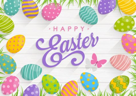 Easter background with colorful eggs on Wood background with text Happy Easter